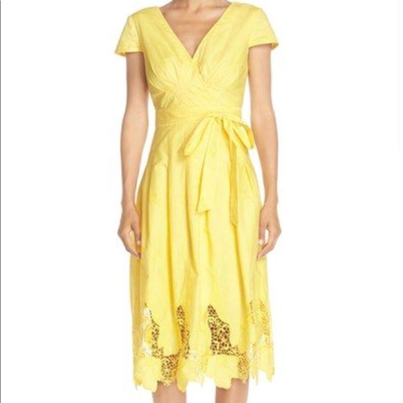 dbecd4ba97 Nue by Shani Yellow Floral Lace Dress Size 4